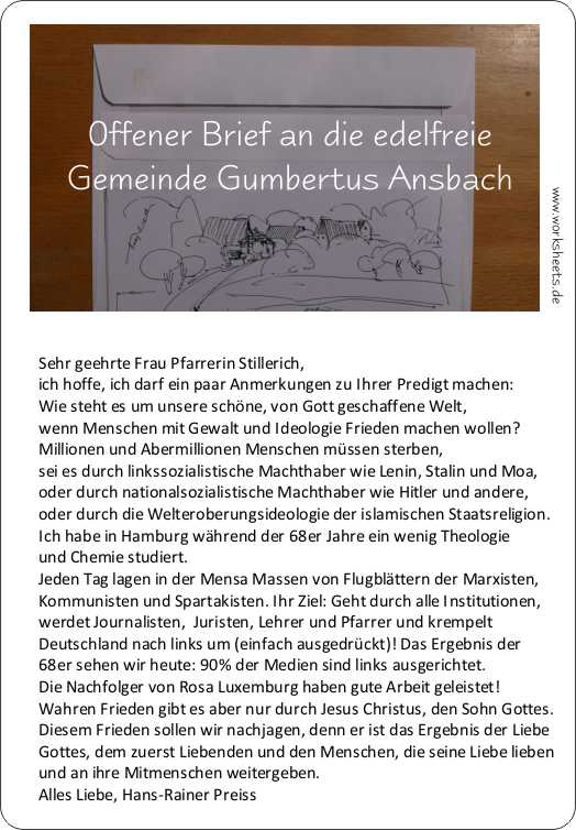Offener Brief an Gumbertus Ansbach